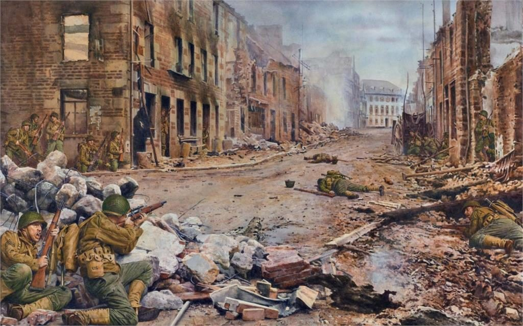 Art-world-war-2-WW2-France-city-Saint-Lo-Street-U-S-troops-soldiers-rifles-M1903A3